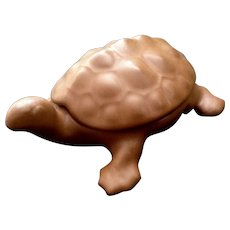Van Briggle Pottery Turtle Trinket Box Glazed Brown