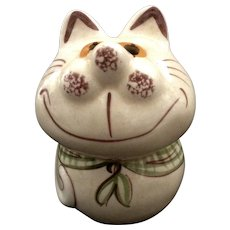 Vintage N. S. Gustin Pottery Cheshire Fat Cat Cheese Shaker 1950's Ceramic Figurine