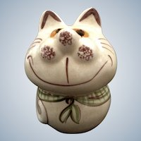 Vintage Cheshire Fat Cat Cheese Shaker Ceramic Figurine N. S. Gustin Pottery 1950's