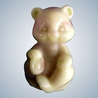 Art Glass Fenton Bear Figurine Slag Glass  Pink and Butter Cream 1980's