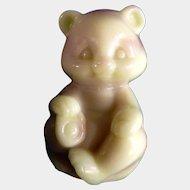 Vintage Fenton Art Glass Pink and Butter Cream Slag Glass Sitting Bear Figurine 1980's