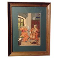 Harry Eliott (b. 1882, d. 1959) Original French Pochoir Print Catholic Monk Musicians in an Abbey
