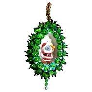 Vintage Christmas Santa Mouse Handmade Sequin Bead Green Stick Pin Ornament