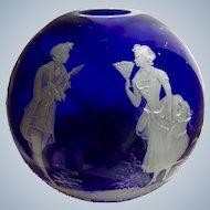 Vintage Vase Glass Cobalt Blue Victorian Couple Heavy Applied White Circle Ball
