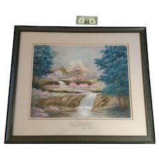 Joann Dolar Large Pastel Landscape Drawing of Waterwheel and flowing stream with Pink Flowers Signed by Artist