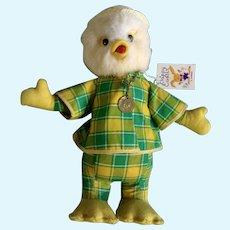 Lamar Easter Duck Rubber Beak  Stuffed Animal Late 1960's Plush Toy