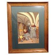 Harry Eliott (b. 1882, d. 1959) Original French Pochoir Print Catholic Monks Sampling the Wine in an Abbey Cellar