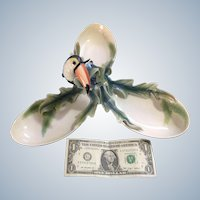 Franz Porcelain, Toucan Tidbit Dish Paradise Calls Serving Tray Art by Francis Chen FZ01313 Discontinued