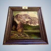Ludwig Wiedemann, Landscape Oil Painting on Large Board, Path by Lake at Foot of Alps Signed by German Listed Artist