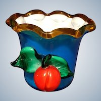 Art Glass Fruit Vase Vintage Cased Vivid Blue Cup