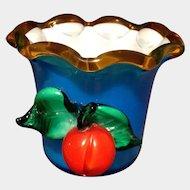 Art Glass Fruit Vase Vintage Cased Vivid Blue Cup