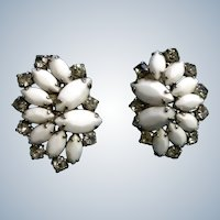 Vintage Weiss Earrings Clip-on Back White Milk Glass and Rhinestone 1950's