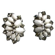 Vintage Weiss Clip Back White Milk Glass and Rhinestone Earrings 1950's
