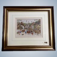 Diane Elson, Folk Art Original Watercolor Painting of a Busy Street Scene in Porlock, England Community Signed by Listed Artist