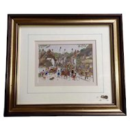 Diane Elson, Folk Art Watercolor Painting of a Busy Street Scene in Porlock, England Community Signed by Listed Artist