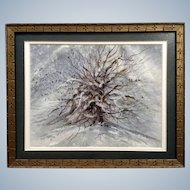 Thomas J Owens, Original Birds in a Winter Tree Watercolor Painting Signed By Listed Artist 1980's Colorado Artist NWS / AWS