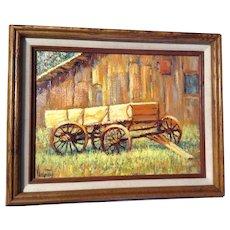 "Virginia Kirkpatrick, Oil Painting on Board Original  ""Old Wagon"" Signed By Oklahoma Artist"