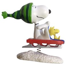 Rare Discontinued Snow Sledding Ultimate Snoopy and Woodstock Hand Painted Danbury Mint Miniature Figurine