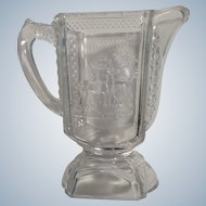Antique Pressed Glass McKee & Brothers Milk Pitcher ca 1883 Band Diamond Deer & Pine Tree Belmont Glass EAPG