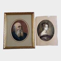 A Mason, Portraits Watercolor Paintings Old Man and Beautiful Woman