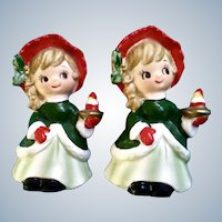 Vintage Napco Christmas Girls Figurines Holding a Strawberry Cake