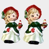 Vintage Napco Christmas Girls Holding a Strawberry Cake Figurines