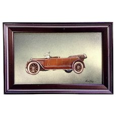 Thorsten, Classic Old Car Oil Painting on Canvas Panel Signed By Artist