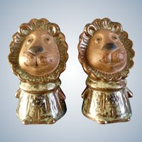 Vintage Lion Salt & Pepper Shakers Pottery Figurines