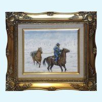 Man With A Packhorse Giclee Print Enhanced With Oil Painting On Canvas