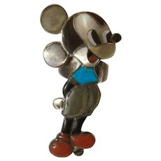 Zuni Mickey Mouse Ring By Famous Artists  Veronica Poblano Nastacio & Amelio Vintage Sterling One of her earlier pieces Size 8.5