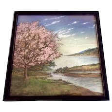 Blooming Pink Tree by the Lake Tributary Pastel Drawing Works on Paper from Late 19th Century