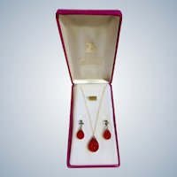 Mid-Century Red Crystal Glass Necklace & Earrings Set in Box Imported Stones By Renee Originals
