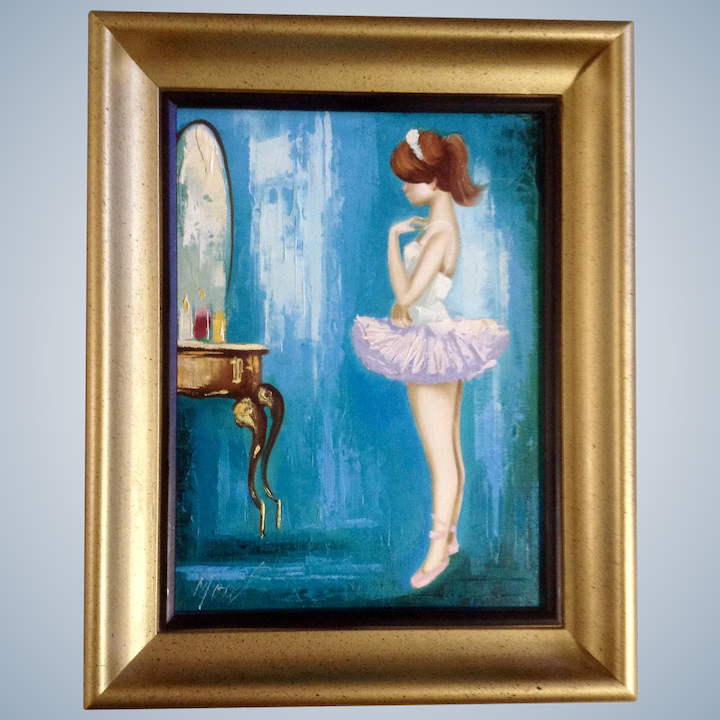 Art Painting Girl With Mirror