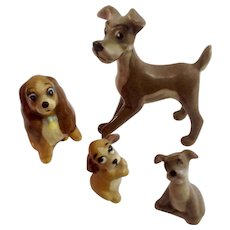 Vintage Walt Disney's Lady & The Tramp Hagen Renaker Dog Family Mid-Century Figurine Set