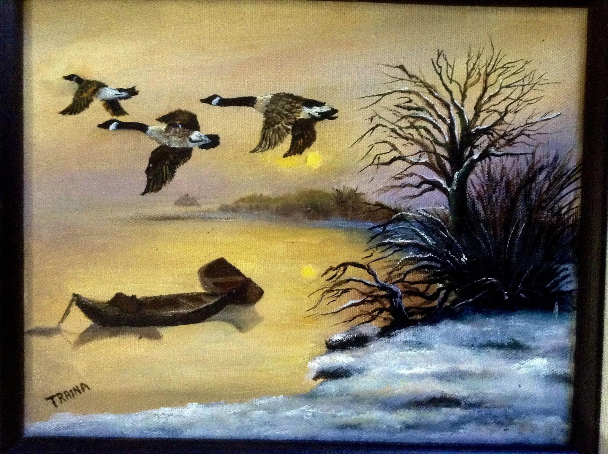 Traina, Geese Flying in the Sunset Oil Painting on Canvas Signed By ...