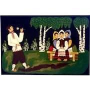 Russian Lacquer Plaque Folk Art Painting Girls Swooning Over a Boy