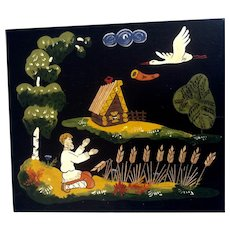 Russian Lacquer Plaque Folk Art Painting Man in Wheat Field with a Bird and Cabin