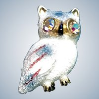 Vintage Sugared Owl Brooch Glass Bead Scatter Pin Aurora Borealis Eyes Signed Korea