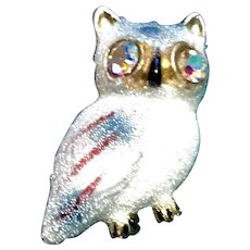 Sugared Witty Owl Brooch Glass Bead Scatter Pin Aurora Borealis Eyes Signed Korea