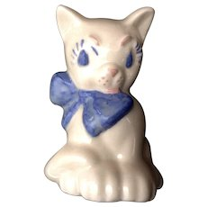 Vintage Mid-Century Ceramic Arts Studio Cat Figurine with Blue Bow California Pottery