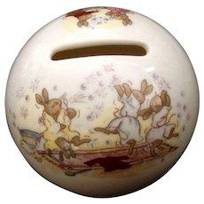 Vintage Royal Doulton Bunnykins Bank Money Ball Slumber Party Copyright 1936 Figurine