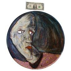 Zany Modern Art Bowl Cubism Face Handmade Terra Cotta Signed Sthbley