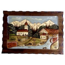 Vintage Black Forest Germany Carved Wood Picture 3D Handmade Painting From Bamberg