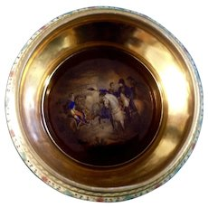 Vintage Bowl Carlsbad Fine Porcelain Napoleon Bonaparte in Russia on His Horse Czechoslovakia Bohemia Bowl Flag and Bee Mark