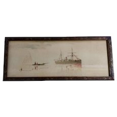 Vattero, 19th Century Chromolithograph Italian School Fisherman Watching a Cruise Ship