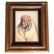 Hunt Acrylic Painting on Board Original Signed , Indian in a Blanket