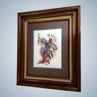 Woodrow Wilson Woody Crumbo (1912-1989), Native Potawatomi Kachina Scalp War Dance Silk Screen Print Signed by Listed Artist