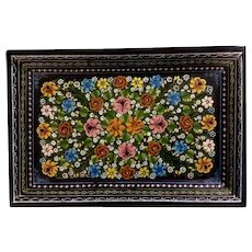Vintage Hand Painted Mexican Folk Art Lacquer Batea Wood Tray Wall Art
