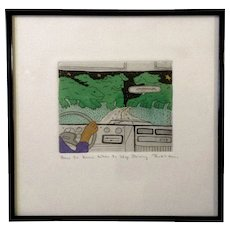 Jan Havens Etching, How to Know When to Stop Driving Print