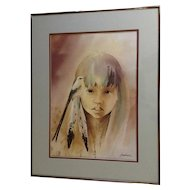 Bert Dail Seaborne (1931-)  Oklahoma Indian Girl with Bird Limited Edition Signed By Listed Artist Print LB5-46 Number 268/1000